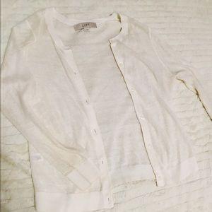 Ann Taylor Loft White Linen Button Down Sweater